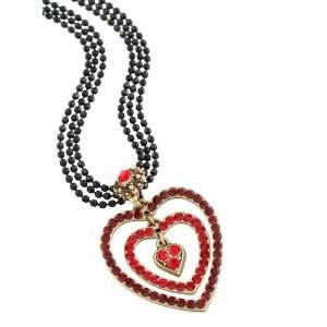 Stranded Black Pearl Necklace Embellished with Heart Pendant