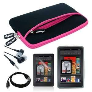 Skque Black with Hot Pink Trim Glove Case + Clear Silicone Skin Case