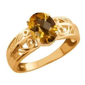 15 Ct Checkerboard Champagne Quartz Gold Plated Sterling Silver Ring