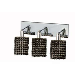RC Mini 8 Inch High 3 Light Wall Sconce, Chrome Finish with Jet (Black