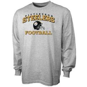 Reebok Pittsburgh Steelers Ash Stacked Helmet Long Sleeve