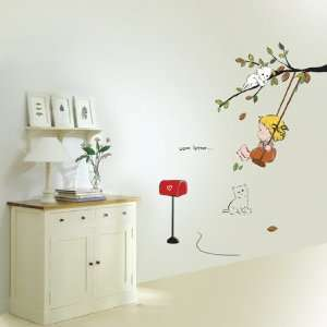 Modern House Baby Swing removable Vinyl Mural Art Wall Sticker Decal