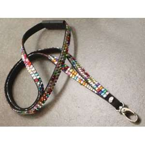 Boojee Beads Multi Colored Rhinestone Bling Lanyard