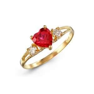 Round White Heart Red CZ 14k Yellow Gold Womens Ring Jewelry