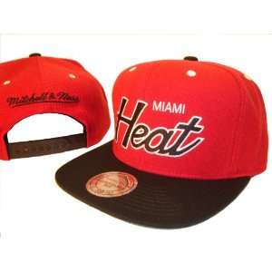 Heat Mitchell & Ness Red & Black Adjustable Snap Back Baseball Cap Hat