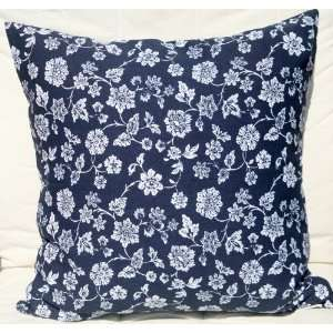 Canvas Cotton Cushion Pillow Cover 19x19   White Flowers on Blue