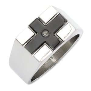 Stainless Steel Black plated & Polished w/Diamond Ring
