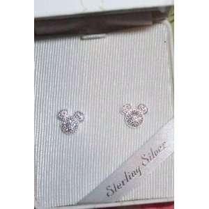 Disney Sterling Silver Pave Crystal Earrings Th Prk Ex NIB
