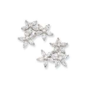 Cheryl M(tm) Sterling Silver CZ Three Flower Post Earrings