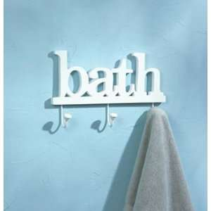 White Bath Bathroom Towel Rack Storage Hook Hanger Wood