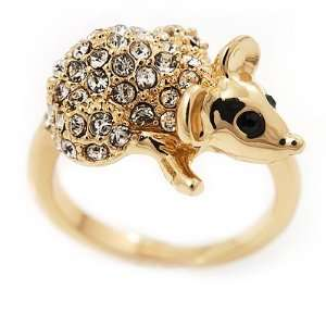Swarovski Crystal Mouse Ring In Gold Plated Metal   Size