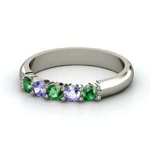 Ring, 14K White Gold Ring with Emerald & Tanzanite Jewelry