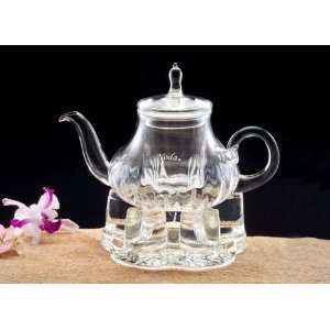Elegant clear glass 3 cup English style teapot
