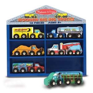 Melissa & Doug Deluxe Wooden Big Rig Trucks Set Toys & Games