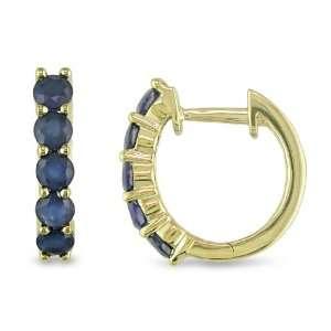 10K Yellow Gold Blue Sapphire Hoop Earrings, Jewelry