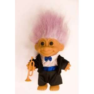 My Lucky JAZZ MUSICIAN Troll Doll w/Trumpet (Violet Purple