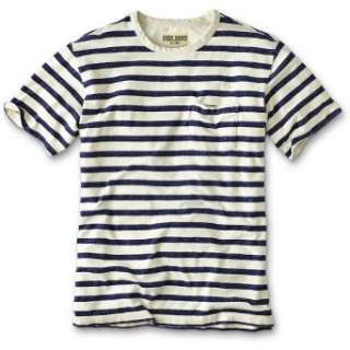 Eddie Bauer Classic Fit Indigo Striped T Shirt: Clothing