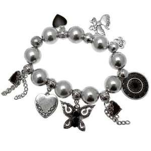 Vintage Style   Metallic Silver Coloured Glass Bead Charm Bracelet