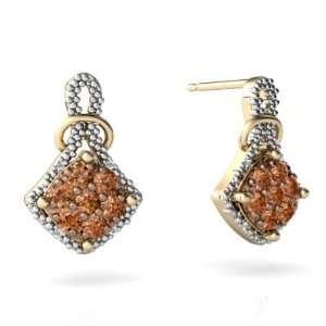 14K Yellow Gold Cognac Diamond Antique Style Earrings