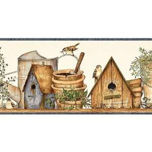 Birdhouse Garden Wallpaper Border