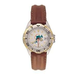 Dolphins All Star Ladies Black Leather Strap Watch