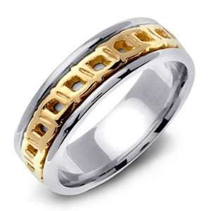 14K Two Tone Gold Hand Carved Celtic Wedding Band Ring Jewelry