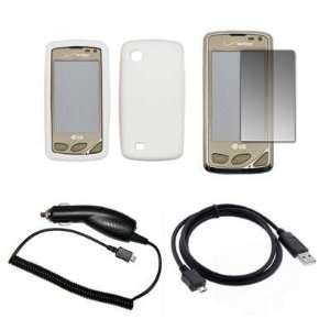 Premium White Soft Silicone Gel Skin Cover Case + LCD Screen Protector