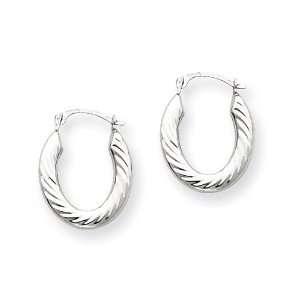 14k Gold White Gold Scalloped Hoop Earrings Jewelry