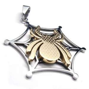 Spider Web Stainless Steel Pendant Necklace Jewelry