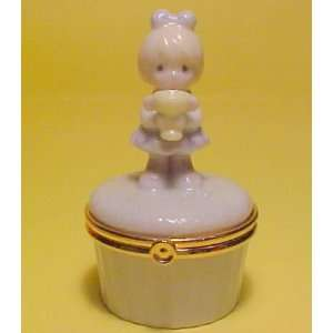 Moments 2000 Porcelain Trinket Box Girl With Trophy