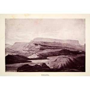 1907 Print Monte Roraima Tri Border Guyana Brazil