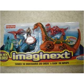 Imaginext Thunder the Brontosaurus and Shreds and Slash the Raptors