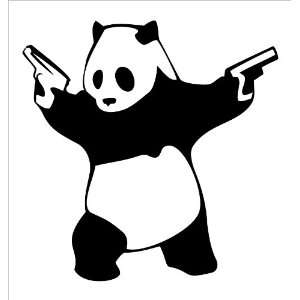 Panda With Guns Vinyl Die Cut Decal Sticker 5 Black