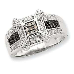 Sterling Silver Champ/Black/White CZ Square Ring Size 6 Jewelry