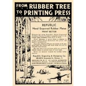 1930 Ad Republic Rubber Tree Printing Engraved Plates   Original Print