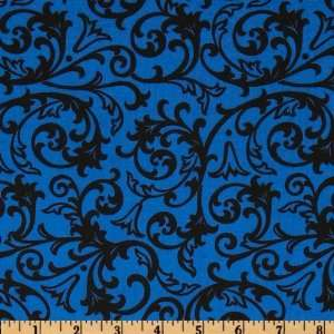 44 Wide Night & Day Floral Swirl Black/Blue Fabric By