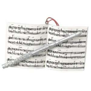 Music Lovers Flute & Sheet Music Christmas Ornament
