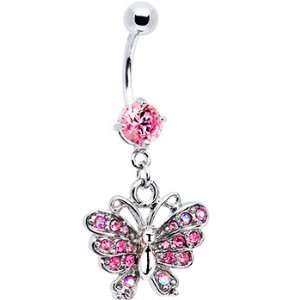 Exquisite Pink Cubic Zirconia Butterfly Belly Ring