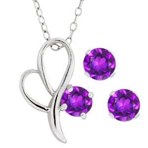 1.50 Ct Round Purple Amethyst Heart Shape Sterling Silver