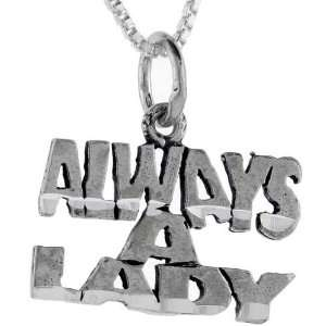 925 Sterling Silver Always A Lady Talking Pendant (w/ 18 Silver Chain