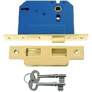 Skeleton Key and Lock. 2 1/4 Standard Brass Mortise Lock