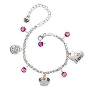 Mardi Gras Crown with Swarovski Crystals Love & Luck Charm