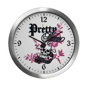 Modern Wall Clock Pretty Poison Forever Skull and
