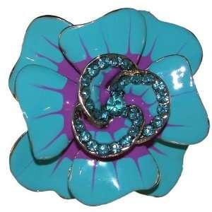 2.25 X 2.25 Enameled Flower Ring with Crystal Rhinestone