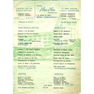 Hotel Noa Noa Menu Acapulco Mexico 1960 Everything Else