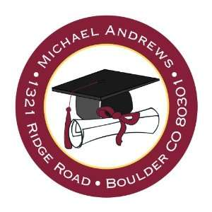 Burgundy Cap And Diploma Round Return Address Labels Office Products