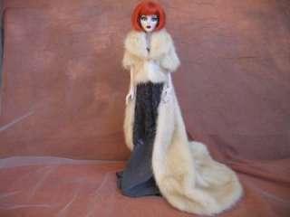 Champagne Mink Fur, Long Cape for Evangeline Ghasly dolls~by dimiha