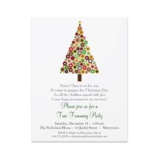 Concentric Circles Christmas Tree Party Invitation invitation
