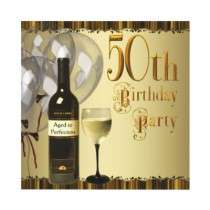Wine Glass Bottle Gold 50th Birthday Party Custom Invites by