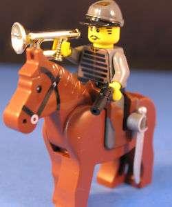 LEGO® brick custom CIVIL WAR CONFEDERATE CAVALRY +BUGLE